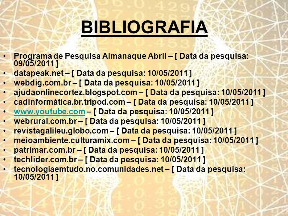 BIBLIOGRAFIA Programa de Pesquisa Almanaque Abril – [ Data da pesquisa: 09/05/2011 ] datapeak.net – [ Data da pesquisa: 10/05/2011 ]